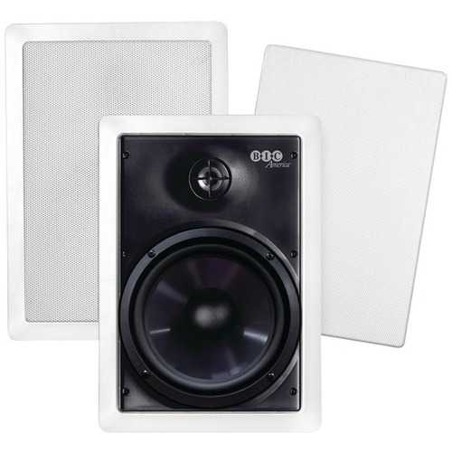 "BIC America M-PRO6W 150-Watt 6.5"" Weather-Resistant In-Wall Speakers with Pivoting Tweeters & Metal & Cloth Grilles"