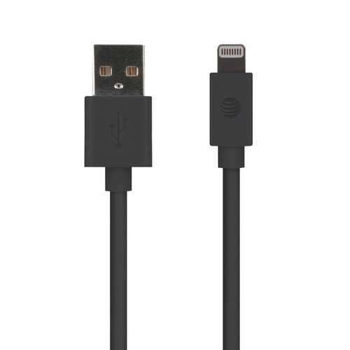AT&T PVLC1-BLK 4-Foot PVC Charge and Sync Lightning Cable (Black)