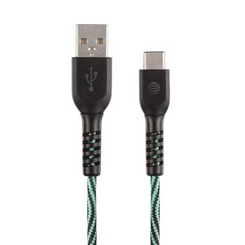 AT&T TCB04-GRN 4-Foot Charge and Sync USB to Type-C Cable (Teal)