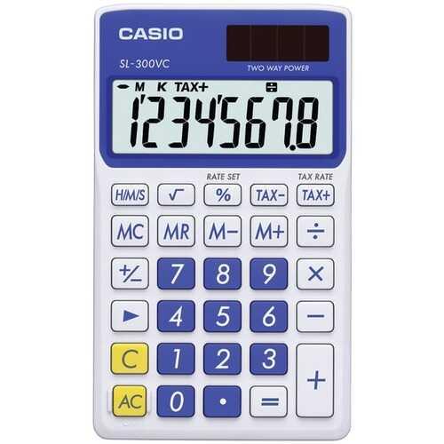 CASIO(R) SL300VCBESIH Solar Wallet Calculator with 8-Digit Display (Blue)