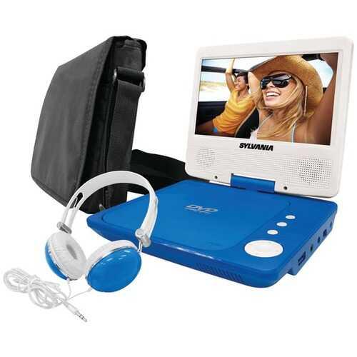 "SYLVANIA SDVD7060-A-COMBO-BLUE 7"" Swivel-Screen Portable DVD Player Bundle (Blue)"