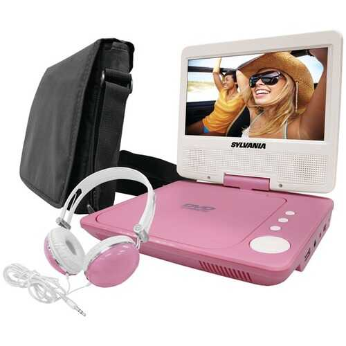 "SYLVANIA SDVD7060-COMBO-PINK 7"" Swivel-Screen Portable DVD Player Bundle (Pink)"