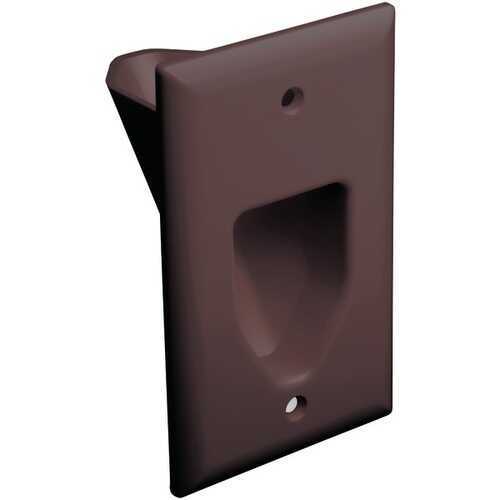 DataComm Electronics 45-0001-BR 1-Gang Recessed Cable Plate (Brown)