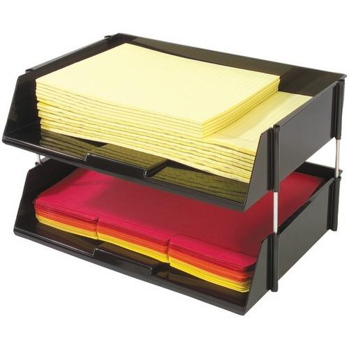 Deflecto 582704 Industrial Tray Side-Load Stacking Trays with Risers, 2 pk