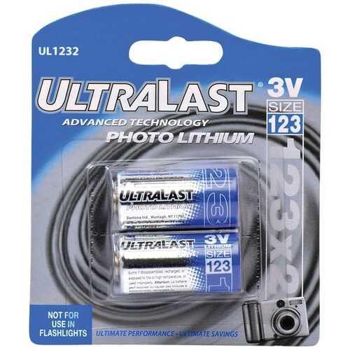 Dantona UL1232 UL1232 CR123-A 3-Volt Photo Lithium Batteries, 2 pk