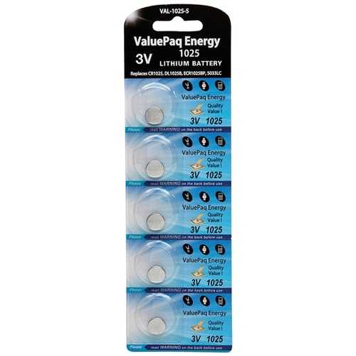 Dantona VAL-1025-5 ValuePaq Energy 1025 Lithium Coin Cell Batteries, 5 pk