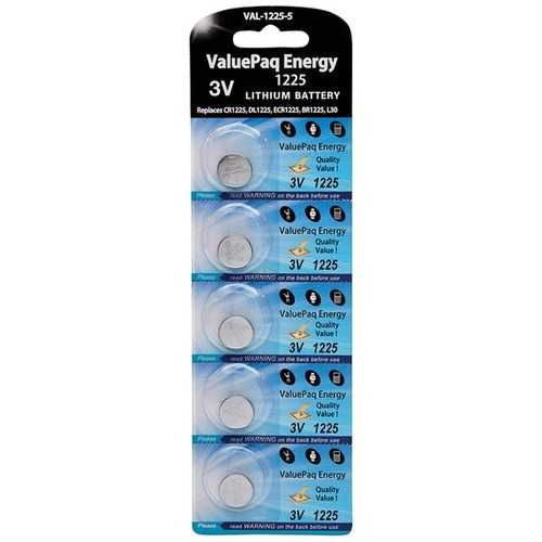 Dantona VAL-1225-5 ValuePaq Energy 1225 Lithium Coin Cell Batteries, 5 pk