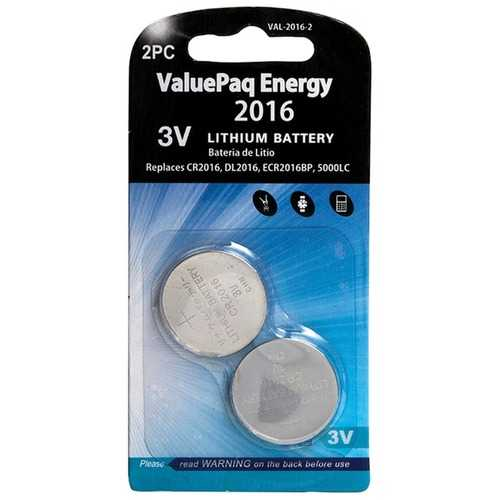 Dantona VAL-2016-2 ValuePaq Energy 2016 Lithium Coin Cell Batteries, 2 pk