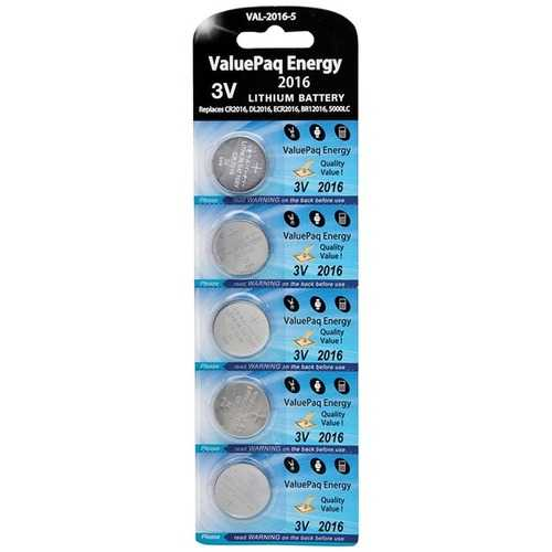 Dantona VAL-2016-5 ValuePaq Energy 2016 Lithium Coin Cell Batteries, 5 pk