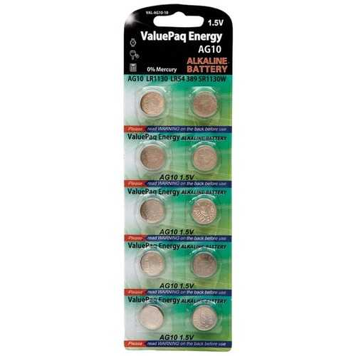 Dantona VAL-AG10-10 ValuePaq Energy AG10 Silver Oxide Button Cell Batteries, 10 pk