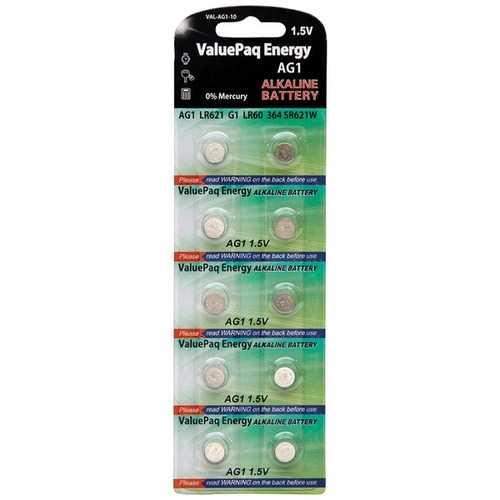 Dantona VAL-AG1-10 ValuePaq Energy AG1 Alkaline Button Cell Batteries, 10 Pack