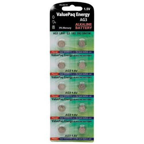 Dantona VAL-AG3-10 ValuePaq Energy AG3 Alkaline Button Cell Batteries, 10 Pack