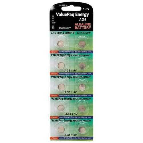 Dantona VAL-AG5-10 ValuePaq Energy AG5 Alkaline Coin Cell Batteries, 10 Pack