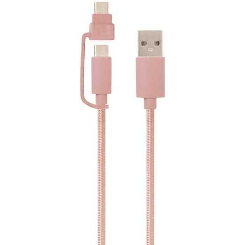 Helix ETHACM10RG USB-A to USB-C Cable with Micro USB Adapter, 10ft (Rose Gold)