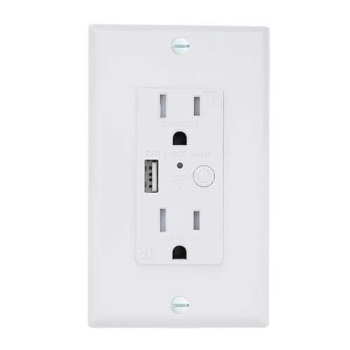 ENERGIZER(R) CONNECT EWO3-1001-WHT Smart In-Wall Outlet with USB Port