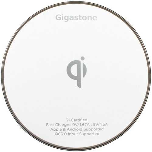 Gigastone GS-GA-9600W-R GA-9600 Qi-Certified Fast Wireless Charger (White)