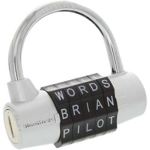 WordLock PL-003-SL 5-Dial Combination Padlock (Silver)