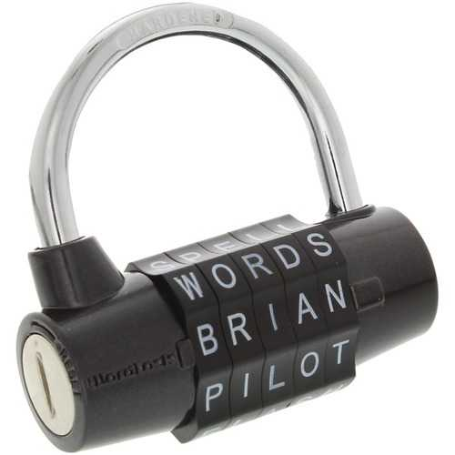 WordLock PL-004-BK 5-Dial Combination Padlock (Black)