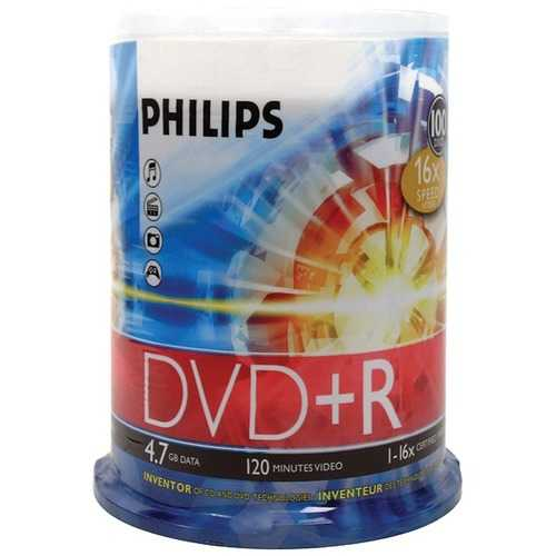 Philips DR4S6B00F/17 4.7GB 16x DVD+Rs (100-ct Cake Box Spindle)