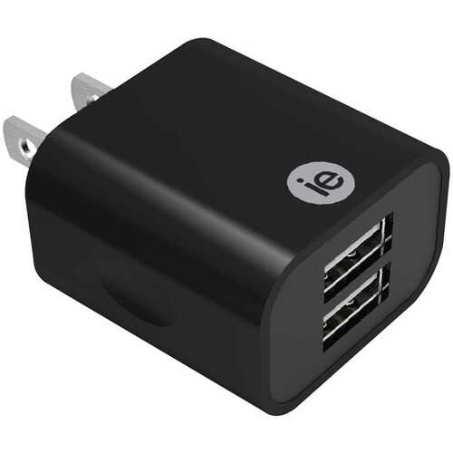 iEssentials IEN-AC22A-BK 2.4-Amp Dual USB Wall Charger (Black)