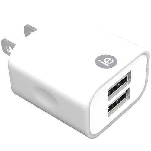 iEssentials IEN-AC22A-WT 2.4-Amp Dual USB Wall Charger (White)