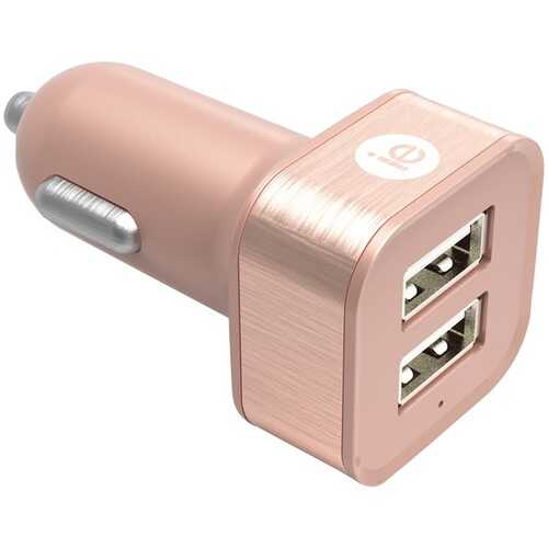 iEssentials IEN-PC22A-RGLD 2.4-Amp Dual USB Car Charger (Rose Gold)