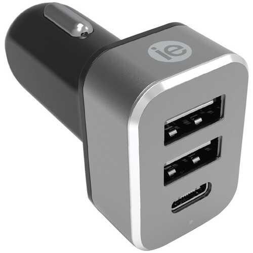 iEssentials IEN-PC42A1C-BK 4.1-Amp Car Charger, 2 USB-A & 1 USB-C