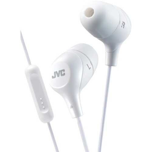 JVC HAFX38MW Marshmallow Inner-Ear Headphones with Microphone (White)