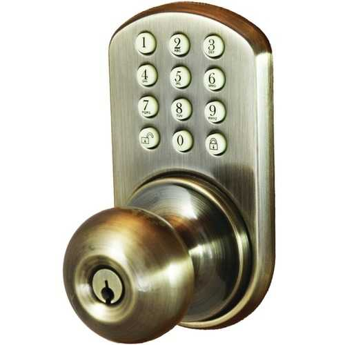 Morning Industry Inc. HKK-01AQ Touchpad Electronic Doorknob (Antique Brass)