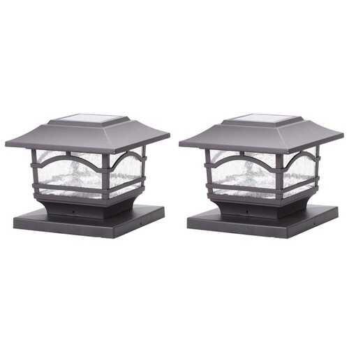 MAXSA Innovations 41671 Solar Post Cap and Deck Railing Lights 2 Pack (Dark Bronze)