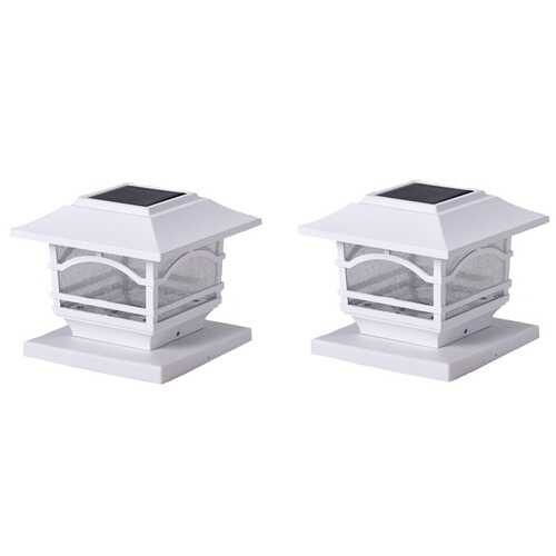 MAXSA Innovations 41971 Solar Post Cap and Deck Railing Lights 2 Pack (White)