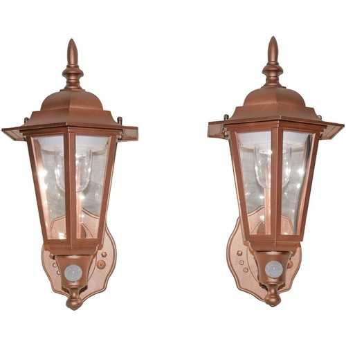 MAXSA Innovations 46719-2PACK Battery-Powered Motion-Activated Plastic LED Wall Sconce, 2-Pack (Copper)