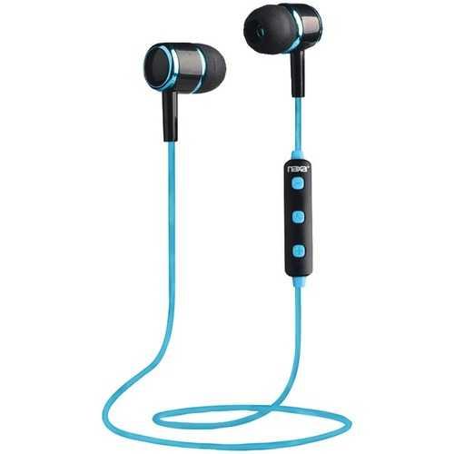 Naxa NE-950 BLACK/BLUE Bluetooth Isolation Earbuds with Microphone & Remote (Blue)