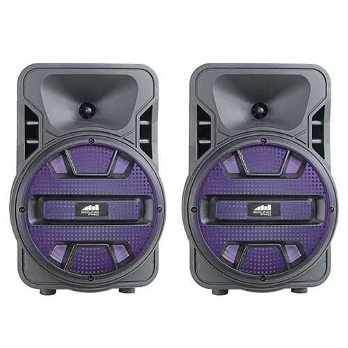 Naxa NDS-8006D Dual 8-Inch Bluetooth True Wireless Sync Party Speakers with Disco Light