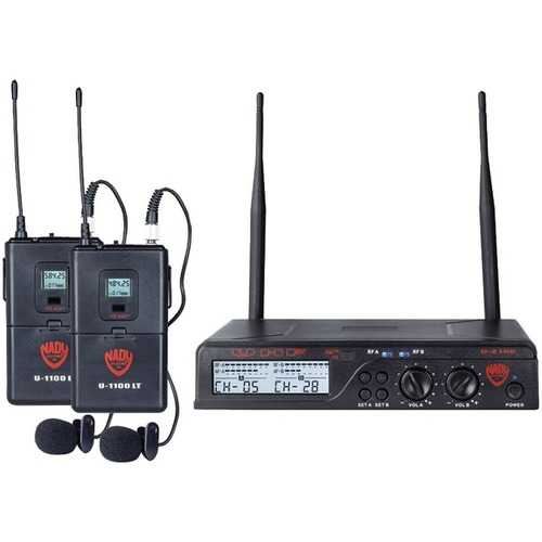 Nady(R) U-2100 LT/O (BAND A/B) UHF Dual 100-Channel Wireless Lavalier Handheld Microphone System
