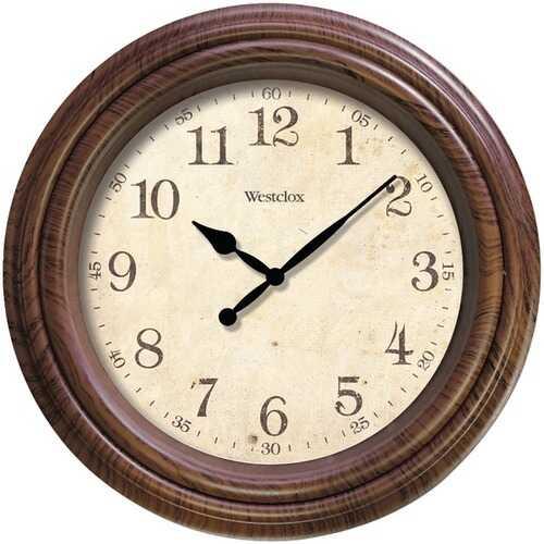 """Westclox 33883P 10"""" Realistic Woodgrain Wall Clock"""