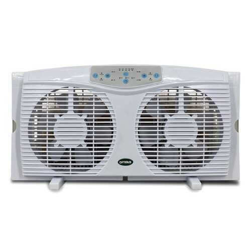 "Optimus F-5286 8"" Reversible Twin Window Fan with Thermostat"
