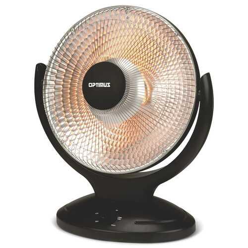 Optimus H-4430 14-Inch 400-Watt/900-Watt Oscillating Parabolic Radiant Heater with Timer
