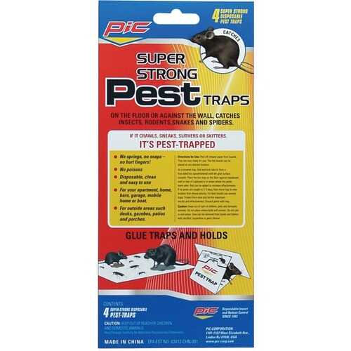 PIC GPT-4 Glue Pest Trap for Spiders & Snakes, 4 pk