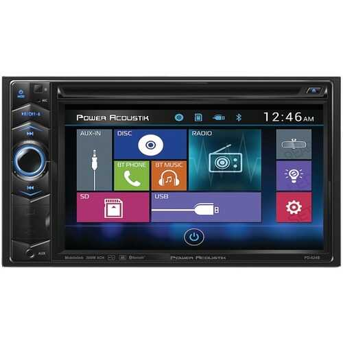 """Power Acoustik PD-624B 6.2"""" Double-DIN In-Dash LCD Touchscreen DVD Receiver with Bluetooth"""