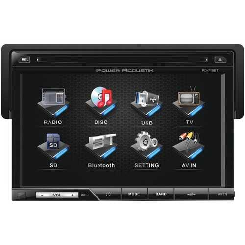 """Power Acoustik PD-710B 7"""" Single-DIN In-Dash LCD Touchscreen DVD Receiver with Detachable Face (With Bluetooth)"""