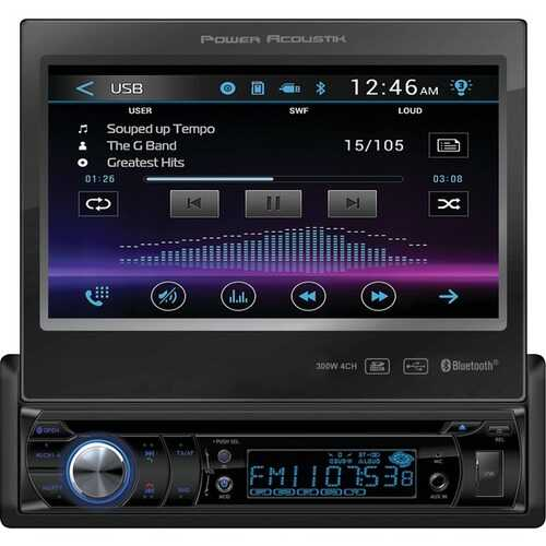 """Power Acoustik PD-724B 7"""" Single-DIN In-Dash Motorized LCD Touchscreen DVD Receiver with Bluetooth"""