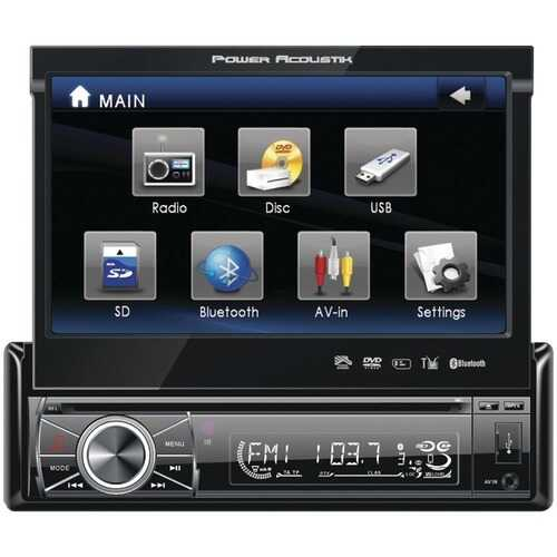 """Power Acoustik PTID-8920B 7"""" Single-DIN In-Dash Motorized LCD Touchscreen DVD Receiver with Detachable Face (With Bluetooth)"""