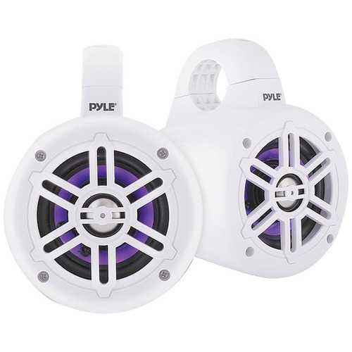 Pyle PLMRLEWB47WB 4-Inch 300-Watt Waterproof Marine Wakeboard Tower Speakers with LEDs (White)