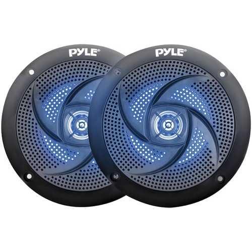 Pyle PLMRS43BL 4-Inch 100-Watt Low-Profile Waterproof Marine Speakers with LEDs