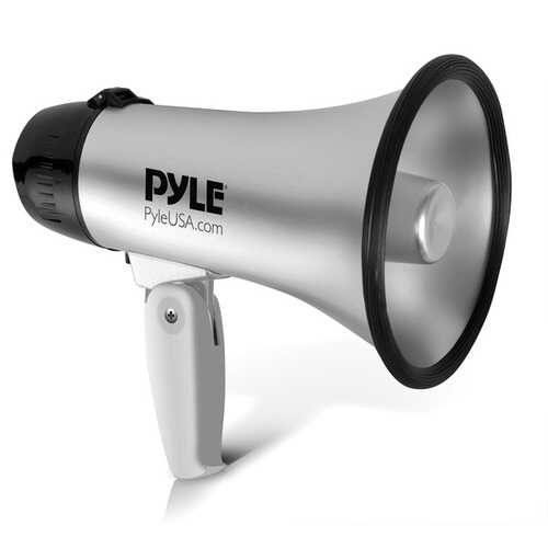 Pyle PMP23SL Battery-Operated Compact and Portable Megaphone Speaker with Siren Alarm Mode (Silver)