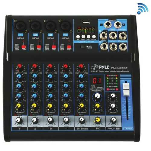 Pyle PMXU63BT 6-Channel Bluetooth Studio Audio Mixer