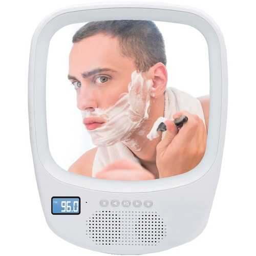 QFX(R) R-70S Fogless Light-up Mirror and Bluetooth Splashproof Speaker with AM/FM Radio