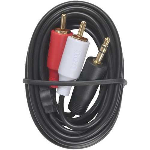 RCA AH205R MP3 3.5mm to 2 RCA Plugs Y-Adapter, 3ft
