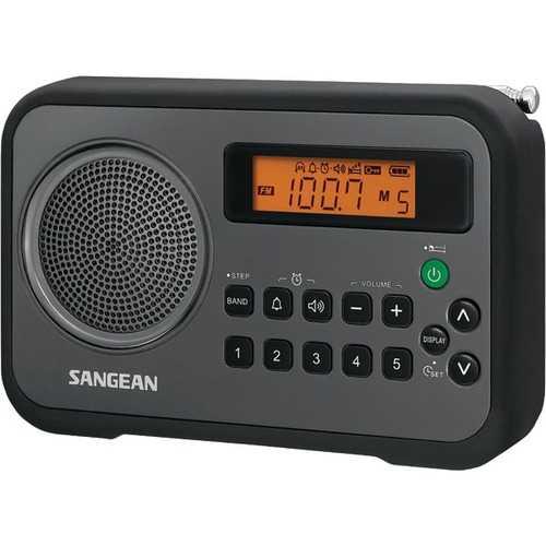 Sangean PR-D18BK AM/FM Digital Portable Receiver with Alarm Clock (Black)